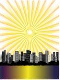 I raggi espongono al sole sopra la città illustrazione vettoriale
