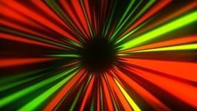 I raggi misteriosi astratti scavano una galleria, muovendosi nello spazio ed il tempo, distorsione di spazio, 3d rende illustrazione vettoriale