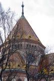I rami di albero nascondono il tetto e la cupola variopinti di un monumento storico fotografia stock