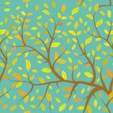 I rami senza cuciture di Brown del modello con giallo arancio di autunno va, colori pastelli sul fondo del cielo blu Vettore Fotografie Stock Libere da Diritti
