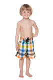 I am ready for swimming!. A portrait of a preschool boy getting ready for swimming stock photo