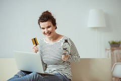 I am ready to dive in the online shopping Stock Photography