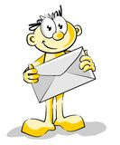 I received an mail. Mailman with big envelope in hands Stock Photography