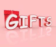 I regali celebrano indica il divertimento della celebrazione e allegro Immagine Stock