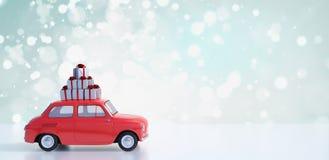 I regali di trasporto 3d di Natale dell'automobile rossa rendono fotografia stock
