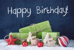 I regali verdi di Natale, la neve, decorazione, mandano un sms alle feste felici immagine stock libera da diritti