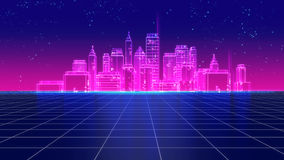 I retro anni 80 futuristici della città del grattacielo disegnano l'illustrazione 3d Fotografia Stock Libera da Diritti