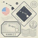 I retro francobolli d'annata hanno messo le Hawai, Stati Uniti Immagine Stock