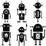 I retro robot d'annata 2 icone messe in bianco e nero hanno messo di 6 Immagini Stock