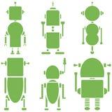 I retro robot d'annata normali 2 icone hanno messo in un insieme di verde di 6 Fotografia Stock