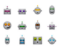 I retro smilies divertenti dei robot hanno messo con i fronti di colore Fotografia Stock