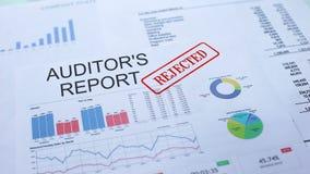 I revisori dei conti riferiscono rifiutato, mano che timbra la guarnizione sul documento ufficiale, statistiche archivi video