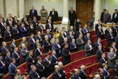 I riassunti ucraini del Parlamento funzionano con il nuovo struttura 27 novembre 2014 Fotografia Stock