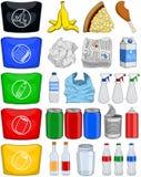 I rifiuti di carta delle latte delle bottiglie dell'alimento riciclano il pacchetto Fotografia Stock