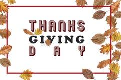 I ringraziamenti che danno il giorno con vari vanno con la struttura di bordo su bianco Fotografia Stock