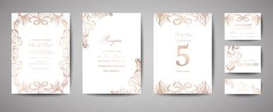 I risparmi d'annata di lusso di nozze la data, invito cardano la raccolta con la struttura e la corona della stagnola di oro cope illustrazione di stock