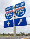 I-95 road sign. Across America north to south Interstate-95 road sign, Florida, USA Stock Photography