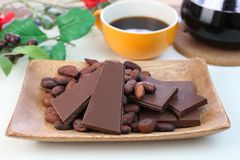 Chocolate and cocoa bean. I rode chocolate and cocoa bean on a plate Royalty Free Stock Image