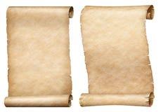 I rotoli della pergamena o della carta hanno messo isolato su bianco immagine stock