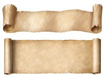 I rotoli stretti della pergamena o della carta hanno messo isolato su bianco immagini stock libere da diritti