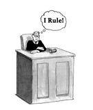 I Rule. Legal cartoon illustration of a judge thinking `I rule Royalty Free Stock Images