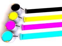 I rulli spazzolano e benne di vernice. illustrazione di stock