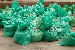 I sacchetti di sabbia per proteggono l'inondazione dell'acqua Fotografia Stock Libera da Diritti