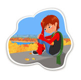 I am so sad. Cartoon very sad teenager girl sitting on the background of the autumn city park. Vector and raster illustration Stock Photo