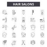 I saloni di capelli allineano le icone, i segni, l'insieme di vettore, concetto dell'illustrazione del profilo royalty illustrazione gratis
