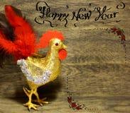 I saluti decorati di Natale del testo progettano la carta di congratulazioni dell'inverno Immagini Stock