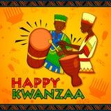 I saluti felici di Kwanzaa per la celebrazione del festival afroamericano di festa raccolgono Immagine Stock Libera da Diritti