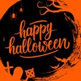 I saluti scritti a mano felici di festa dell'iscrizione di Halloween sul cerchio spazzolano il fondo del colpo con i simboli spet illustrazione di stock