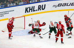 I. Saprykin (40) catch a puck in trap Stock Image
