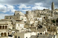 I Sassi di Matera. The town of Matera with the caracteristic building in the south of Italy Stock Image