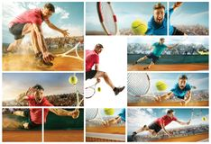 The one jumping player, caucasian fit man, playing tennis on the earthen court with spectators Royalty Free Stock Photo