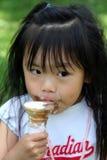 I Scream for Ice Cream. Preschooler enjoying her ice cream on a hot summer day Stock Photos