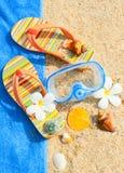 I Seashells e la mascherina di immersione subacquea sull'oceano tirano Fotografie Stock Libere da Diritti