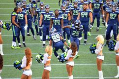 I Seattle Seahawks Doug Baldwin And Richard Sherman celebrano Immagine Stock Libera da Diritti