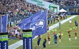 I Seattle Seahawks prendono il campo Fotografie Stock Libere da Diritti