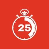 I 25 secondi, icona del cronometro di minuti Orologio ed orologio, temporizzatore, conto alla rovescia, simbolo del cronometro Ui royalty illustrazione gratis