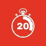I 20 secondi, icona del cronometro di minuti Orologio ed orologio, temporizzatore, conto alla rovescia, simbolo del cronometro Ui Fotografie Stock Libere da Diritti