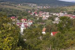 I see my native village on a hill stock image