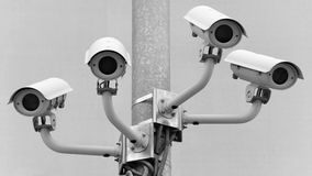 I see you. Security cameras at a football stadium Royalty Free Stock Photos