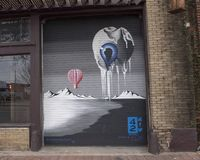 `When I See You I Melt` mural by Chad Michael, Deep Ellum, Texas. Pictured is the `When I See You I Melt` wall mural, part of the 42 murals project in Deep Ellum royalty free stock image
