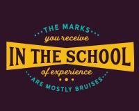 I segni che ricevete nella scuola di esperienza sono principalmente contusioni illustrazione di stock
