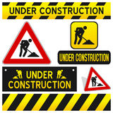 I segni in costruzione hanno impostato Fotografie Stock Libere da Diritti