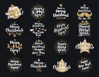 I segni del ` s del nuovo anno e di Natale hanno fissato il colore dell'oro bianco su fondo nero Immagine Stock