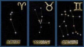 I segni della sorgente dello zodiaco Fotografie Stock Libere da Diritti