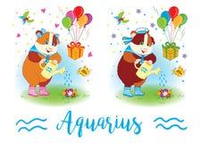 i segni dello zodiaco Cavia sulla spalla 6587 aquarius Fotografie Stock Libere da Diritti