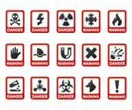 I segni di proibizione hanno fissato le informazioni di sicurezza severe simbolo d'avvertimento rosso del pericolo di giallo di v illustrazione vettoriale